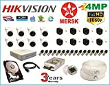 MERSK Hikvision 16 Ch Turbo HD Dvr and Full HD (4MP) CCTV Camera Kit with All Required Accessories
