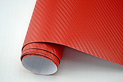 3,29€/m² Auto Folie - 3D Carbon Folie - ROT - 100 x 150 cm - Meterware blasenfrei mit Luftkanälen NEOXXIM PREMIUM
