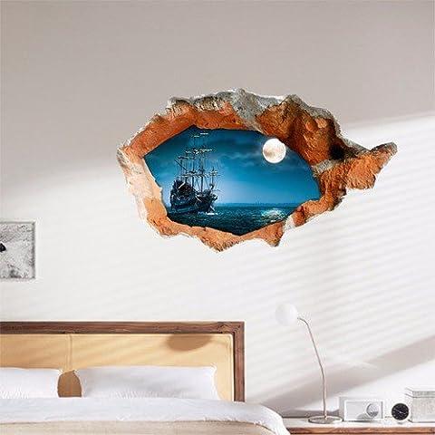Cartoon dekorative Malerei Schlafzimmer Wohnzimmer Fernseher Sofa Hintergrund HD-Dimensionalen 3D Wall Sticker Wallpaper (Piraten), 98 x 58 (Hd Weihnachten Wallpaper)