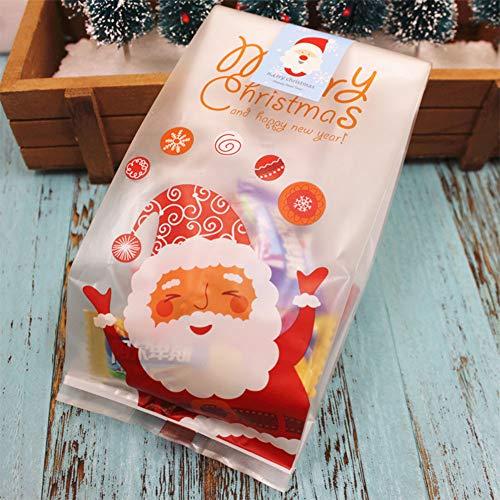 Zantec 50pz sacchetti porta biscotti spuntini caramelle stampa babbo natale biscottiera contenitore portatile per regalo natalizio