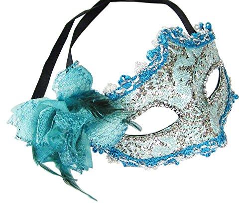 Venitiens Kostüm - Elegante Maskerade Maske Venezianische Augenmaske mit Blume, Blau