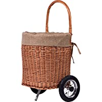 dobar Practical Fireplace Wood Wagon Peeled Willow Log Basket with Sturdy Metal Wheels Tyres Brown, 44 X 40 X 93 cm