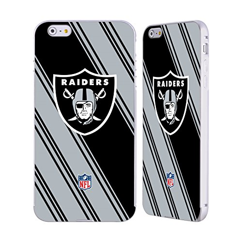 Ufficiale NFL Pattern 2017/18 Oakland Raiders Argento Cover Contorno con Bumper in Alluminio per Apple iPhone 6 Plus / 6s Plus Righe