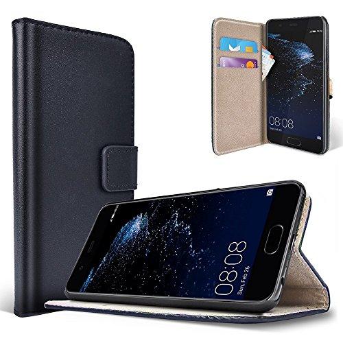 Custodia Portafoglio Huawei P10 Cover Saii Flip Wallet Case per Huawei P10 [Stile Libro] in Pelle con Funzione Stand, Scomparti per Carte e Chiusura Magnetica - Nera