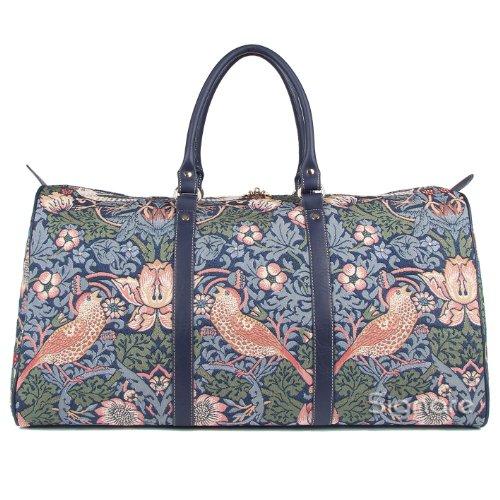 Signare grand fourre-tout bagage weekender en toile tapisserie mode femme William Morris Fraise voleur bleu