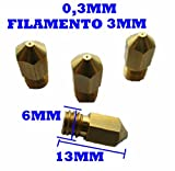 NOZZLE ACCURATEZZA 0,3MM PER FILAMENTO DA 3MM ADATTO A STAMPANTI 3D, CNC, FLASHFORGE, MAKERBOT, REPRAP, MENDEL, PRUSA.. PRINTER 3D ESTRUSORE