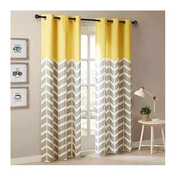 Amazures Polyester Silhouette Yellow Digital Printed Curtain Set of 2, 48x84-inch