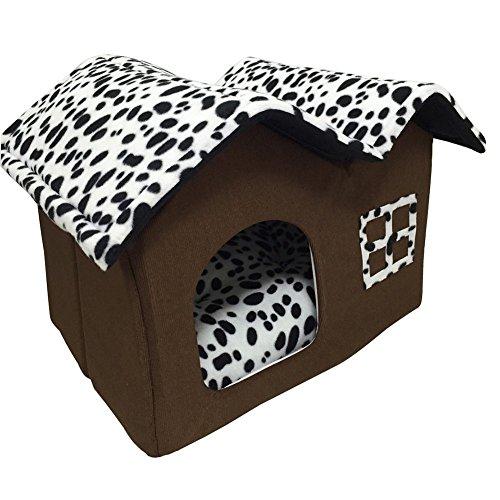 Luxus Schwarz und weiß-Spots Doppeldach Hundehaus Haustierhaus Hundehütte Katzenbett mit Hundematte Samt Polyester 50x40x35 CM