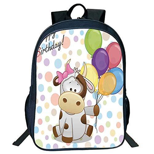 HOJJP Schultasche Stylish Unisex School Students Black Birthday Decorations Kids,Baby Cow Colorful Balloons on Abstract Polka Dot Bakcdrop,Multicolor Kids, - Black Cow Geldbörse