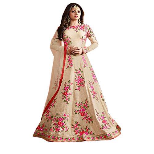 Ethnic Empire Cream COLOR LATEST INDIAN DESIGNER ANARKALI SALWAR KAMEEZ DRESS for...