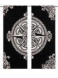Neue veröffentlicht Exklusive Bohemian durdarshan Mandala Wandbehang, Hippie Fenster Vorhang Volants Raumteiler 2PC Panel Set Baumwolle Fenster Behandlungen indischen Hippie Vorhänge Bohemian Psychedelic ombre-