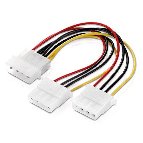 adaptare 34003 15 cm Netzteil Y-Kabel für 4-polig IDE-/Molex-Strom-Stecker weiß