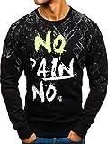 BOLF Herren Sweatshirt mit Rundhalsausschnitt Bündchen Baumwollmischung Aufdrück Motiv J.Style DD389 Schwarz L [1A1]