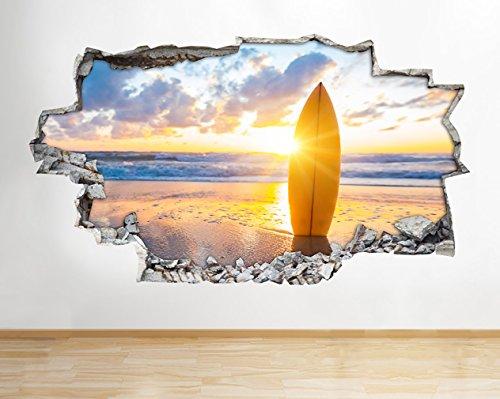 Z087Surf Board Surfen Strand Sonnenuntergang Meer Wand Aufkleber 3D Poster Art Aufkleber Zimmer Kids Schlafzimmer Baby Kinderzimmer Cool Wohnzimmer Hall Jungen Mädchen (Medium (52x 30cm)) (Zimmer-board)