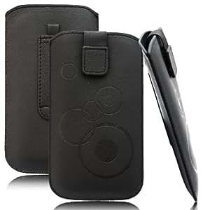 Slim Case Schwarz für Sony Mobile Xperia Z1 Compact Tasche Ledertasche Handytasche Leder Kunstleder Schutz Hülle Schutzhülle Gürteltasche Schlaufe Gürtelschlaufe Seitentasche Etui Holster
