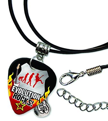 Evolution Rocks Rock Plektrum Halskette Leder Schnur Necklace (R1)