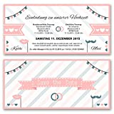 (20 x) Hochzeitseinladungen VIP Party Pink Gold Ticket Einladungskarten Hochzeit