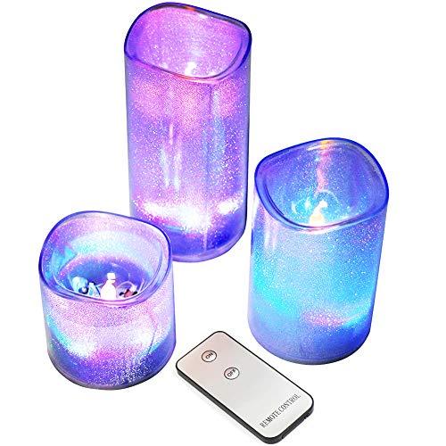MANLI Led Kerzen Lichter Flammenlose Kerze 300 Sunden Batterie Dekorative Kerzen im 3er Set (15,2cm, 11,5cm, 7,6cm) LED-Flammen aus Kunststoff Elektrische Kerzen mit Timer Fernbedienung Bunte