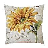 Vovotrade Leinen Zierkissenbezüge Mix Sofa vintage deko Sonnenblume Blumen Kissenbezug Quadrat Kopf shabby chic vintage deko 45 * 45cm