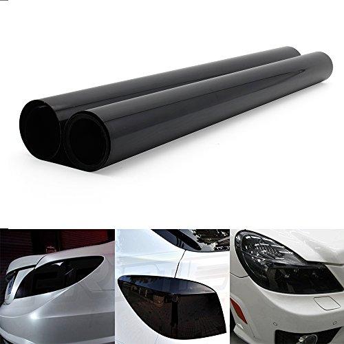 Topwill Folie Tönungsfolie Scheinwerfer Folie Tönungsfolie Aufkleber Schwarz Auto Folie für Autoscheinwerfer, Nebelscheinwerfer, Rücklicht (200×40cm)