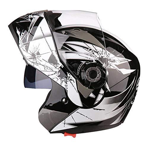 Sanqing Casco Moto, Casco modulare Integrale Flip up Dual Visor Parasole/Anti-Fog, Pittura per personalità Dirt Bike Quattro Stagioni Casco da Moto,Gray,XXL