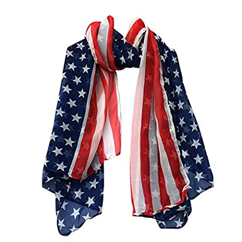 Fulltime(TM) Women Fashion Soft Silk Chiffon American Flag Scarf Scarves