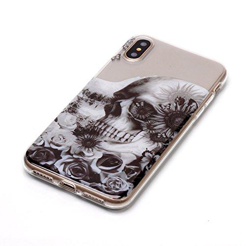 Cover iPhone X Spiritsun Case iPhone X Custodia Moda Ultraslim Trasparente Soft TPU Case Handy Cover High Quality Case Elegante Souple Flessibile Liscio Copertura Perfetta Protezione Shell Morbido Sil Testa del Cranio