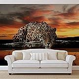 Leopard - Forwall - Fototapete - Tapete - Fotomural - Mural Wandbild - (126WM) - XXL - 312cm x 219cm - VLIES (EasyInstall) - 3 Pieces