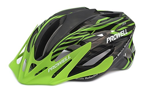 Prowell F59R Vipor Cycle Helmet, Black Green, Large, FREE SharkFIN light worth £5.49