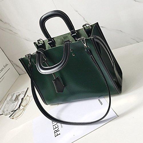 PDFGO Handtaschen Große Kapazität Mezzanine Tasche Handtasche Ölhaut Reißverschluss Einfarbige Tasche Umhängetasche Tote Tasche Green