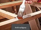 Holzfarbe seidenmatt Holzlack innen außen | BEKATEQ BE-420 Holzschutzfarbe auf Wasserbasis Geruchsarm | Holzmöbel streichen (5L, Anthrazitgrau)