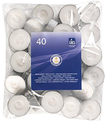 Gies 205-455000-10 Maxi-Lichte, Durchmesser 58 mm, in Metallhülsen, 40-er Beutel, weiß
