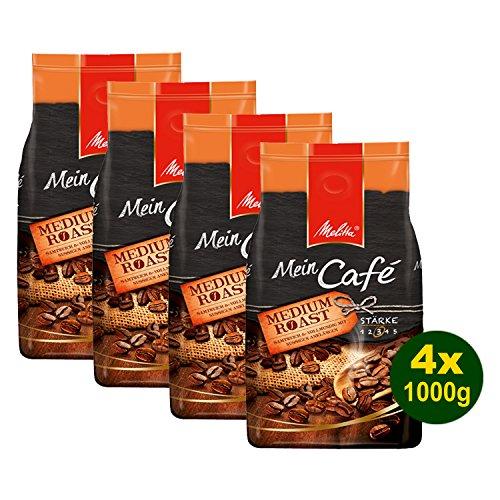 Melitta Mein Café MEDIUM Roast, Kaffeebohnen, 4x 1000g (4000g) - vollmundig mit leicht nussiger Note! (Medium-roast-kaffee)
