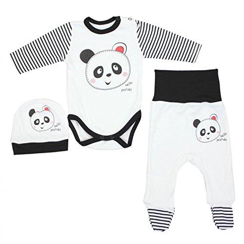 TupTam Unisex Baby Bekleidungsset mit Aufdruck 3 TLG, Farbe: Panda, Größe: 56
