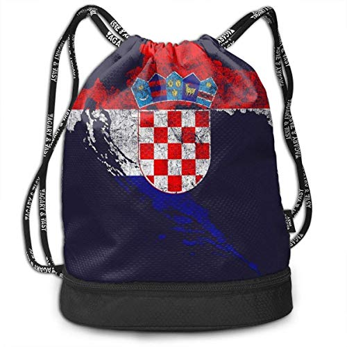 Travelling Swim Travel Beam Bag Kroatien Flagge und Karte Croatian Pride Beam Rucksack Basketball, Volleyball, Baseball Rucksack Für Jungen Teens Jugend Sport & Workout Gear