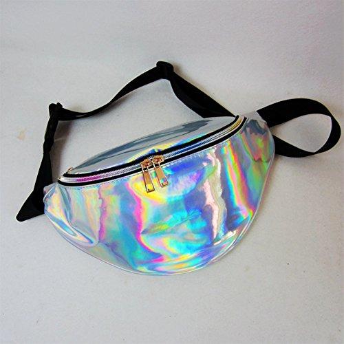 Damen-Gürteltaschen von LinTimes - glänzend, holografischer Laserlook, mit verstellbarem Taillenband, für Smartphone, Bargeld, Schlüssel, Passport, silber Laser Mobile
