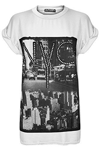 T-Shirt Damen Frauen NYC New York City Aufdruck Dehnbar Baggy Übergroß Umgeschlagene Flügelärmel Top NYC Weiß