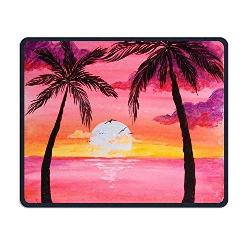 Palm Trees and Pink Clouds Office Rectangle Non-Slip Rubber Mouse Pad Retro Gaming Mouse Pad for Laptop Displays Tablet Keyboard