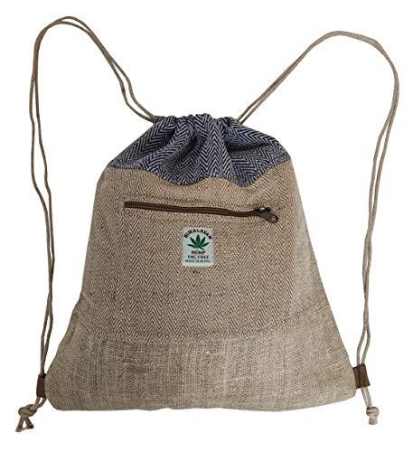 troll n' roll - sacca da ginnastica realizzata a mano, in canapa naturale, unisex, made in nepal, escursionismo