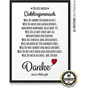 DANKE Liebeserklärung Danksagung ABOUKI Kunstdruck Geschenk-Idee für Sie Ihn Frauen Männer Freund Freundin Liebes-Paar…