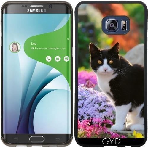 SilikonHülle für Samsung Galaxy S6 Edge Plus - Tuxedo-Katze In Einer Blumengarten by Katho Menden (Edge-tuxedo)
