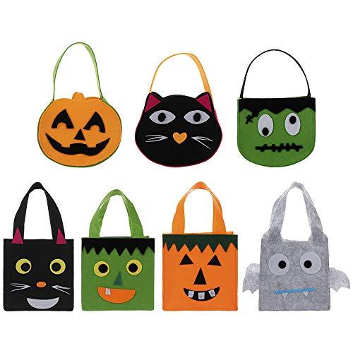 INFILM 7 Stück Halloween Süßigkeitentaschen, tragbare Handtasche Trick or Treat Candy Tote Bags Candy Filz Halter mit Griff für Kinder Halloween Kostüm - Trick Or Treat Kostüm Für Jungen