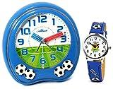 Atlanta Kinderwecker Jungen ohne Ticken mit Armbanduhr Fußball Blau -1719-5 KAU
