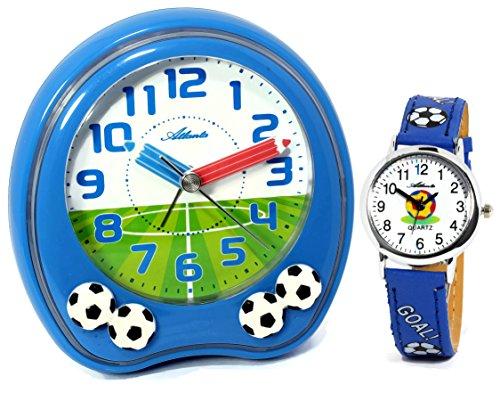 Kinderwecker Jungen ohne Ticken mit Armbanduhr Fußball Blau - Atlanta 1719-5 KAU (Mit Wecker Minutenzeiger)