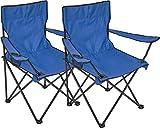 2x Silla plegable Silla de camping con soporte para bebidas en reposabrazos silla plegable, azul
