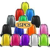 FEPITO 15 piezas de poliéster con cordón mochila bolsa saco paquete Cinch Tote para niños...