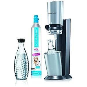 SodaStream Wassersprudler-Set Crystal - mit dem Glaskaraffen Sprudler ohne schleppen aus Leitungswasser prickelndes Sprudelwasser machen (1x CO2-Zylinder 60L und 2 x 0,6L Glaskaraffen) Titan/Silber