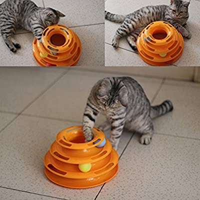MissFox Three Levers Tower of Tracks Cat Toy Pet Ball Toys Amusement Plate