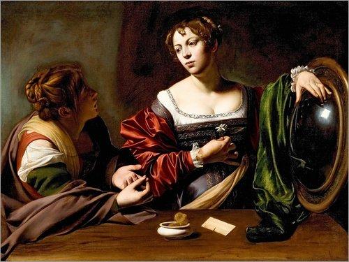 Posterlounge Cuadro de Madera 160 x 120 cm: Martha and Mary Magdalene de Michelangelo Merisi (Caravaggio)
