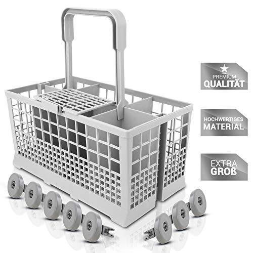 STRACKS Besteckkorb für viele Spülmaschinen mit 60cm Breite [24x13,5x23,5 cm] - Inklusive 8 Unterkorbrollen für ihren Geschirrspüler! - starker hitzebeständiger Kunststoff